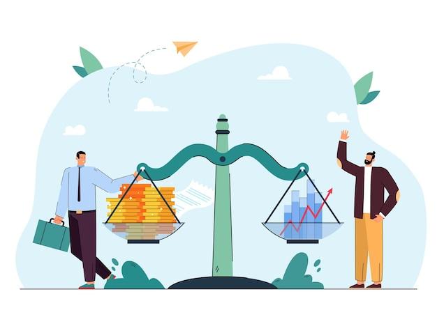 사업가이자 투자자는 저울에 있는 돈과 그래프 옆에 있습니다. 남자 균형 동전과 이익 평면 그림