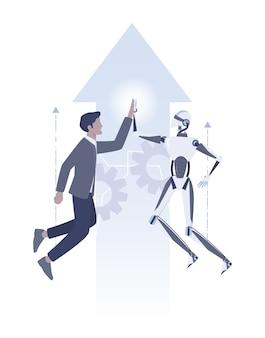 ビジネスマンとロボットのコミュニケーションのアイデア。人間とaiが協力して成功します。人間と人工知能のハイファイブ。図