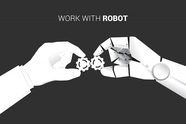 Бизнесмен и робот рука положить механизм, чтобы соответствовать друг другу.