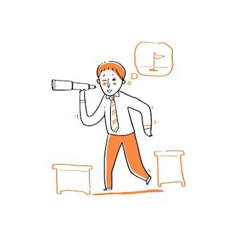 ビジネスマンおよび望遠鏡の図