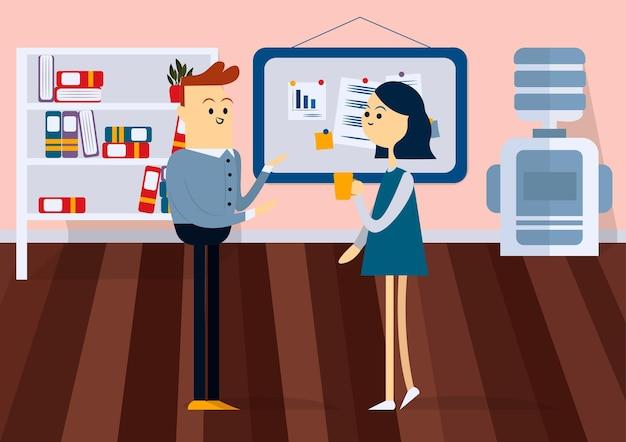 Бизнесмен и женщина обсуждают презентацию перед доской. цветной мультфильм векторные иллюстрации
