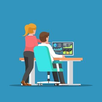 コンピューターでビジネスについて話し合うビジネスマンと女性。ビジネスチームとチームワークの概念。