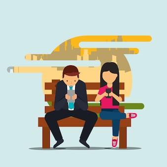 ビジネスマン、女性、スマートフォン、ベンチ、座る