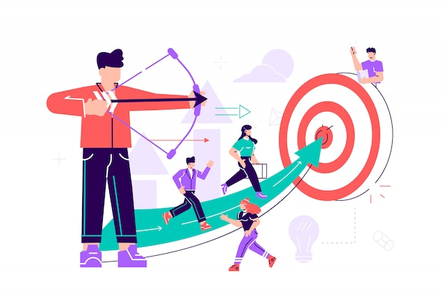 A businessman archer aiming at a target, people run to their goal along the arrow to the cutter, raise motivation, the way to achieve the goal.