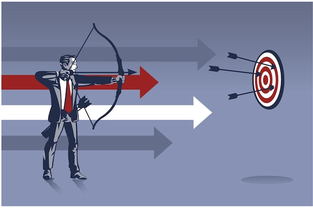 Businessman archer ready to shoot arrow. business illustration concept of business aiming target