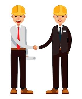 Businessman and architech partners handshake