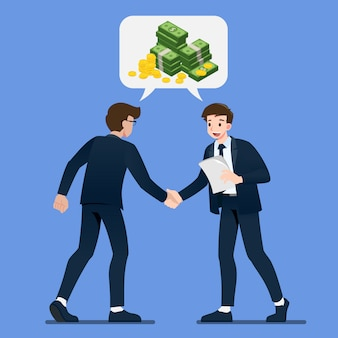 Businessman are shaking hand each other with isometric coin and money dollar in bubble chat talk.