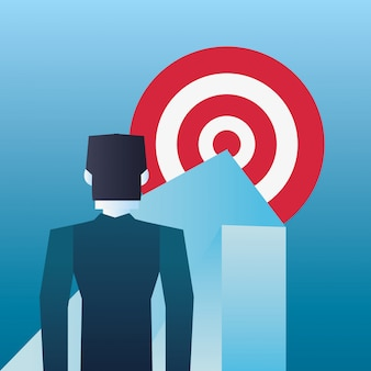 Businessman arrow pointing target business