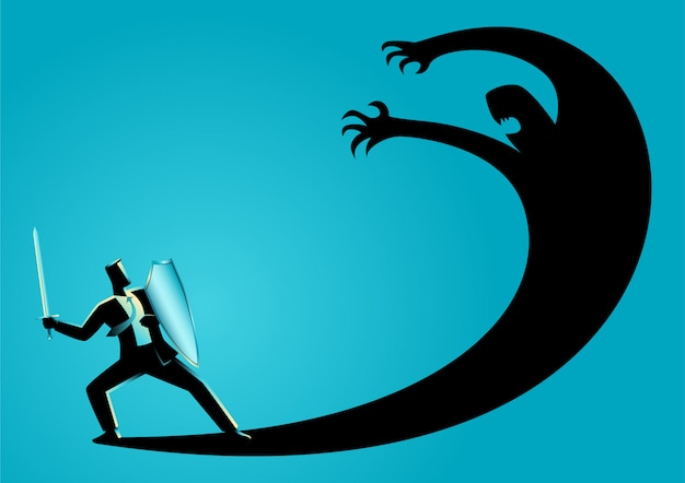 Businessman as a knight fighting his own shadow
