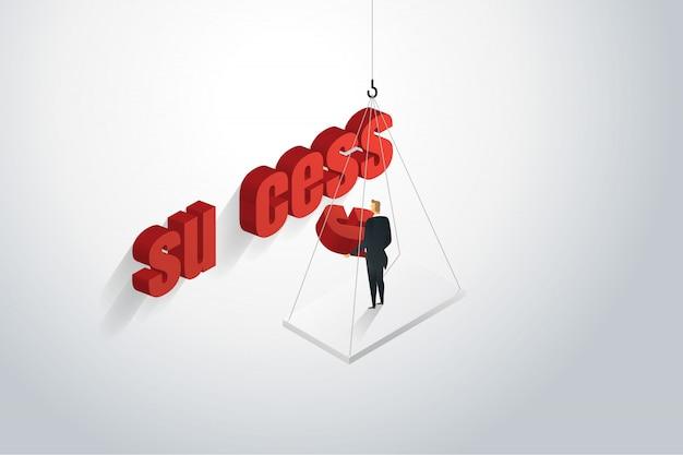 単語の成功を組み立てるビジネスマン。