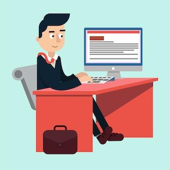 コンピューターと作業テーブルの上のオフィスで実業家