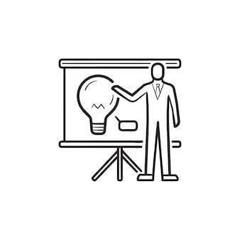 電球の手描きのアウトライン落書きアイコンとプレゼンテーションボードでビジネスマン。戦略計画のコンセプト