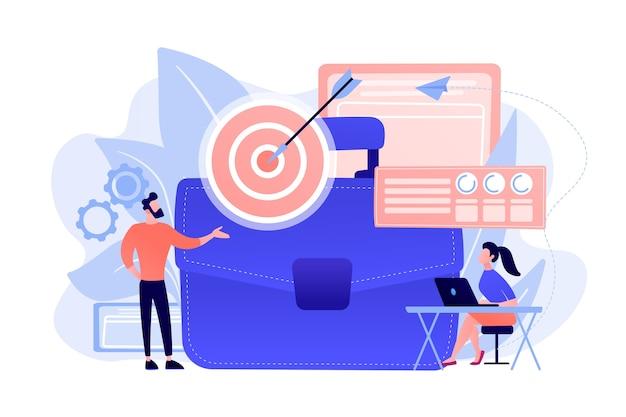 ターゲットと矢印のビジネスマンとデータとラップトップを分析する女性。白い背景の上のビジネス戦略、ビジネス目標と計画の概念。