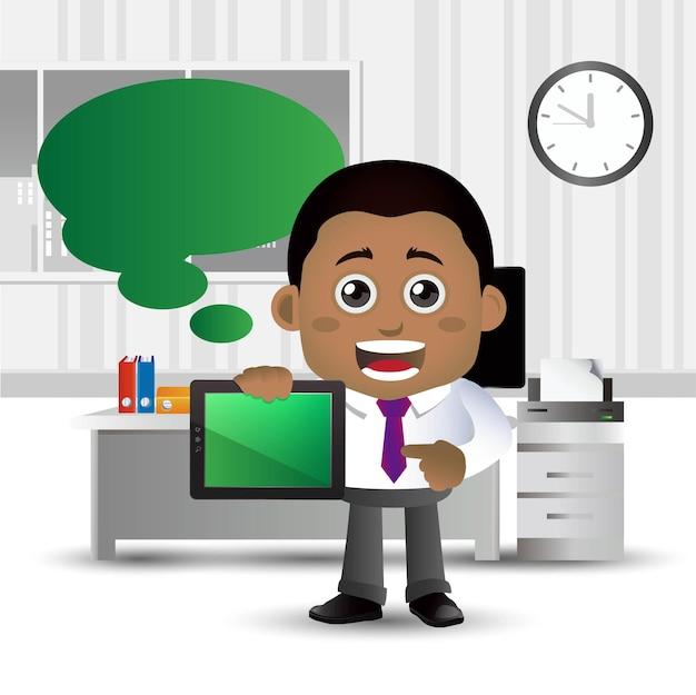 Бизнесмен в офисе с речи пузырь