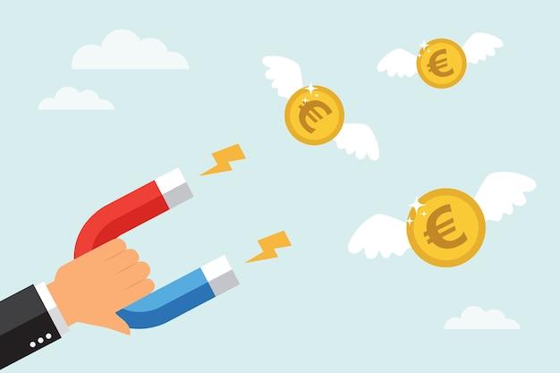 ビジネスマンは大きな磁石でお金のユーロ硬貨を引き付けます。フラットなデザインスタイルで