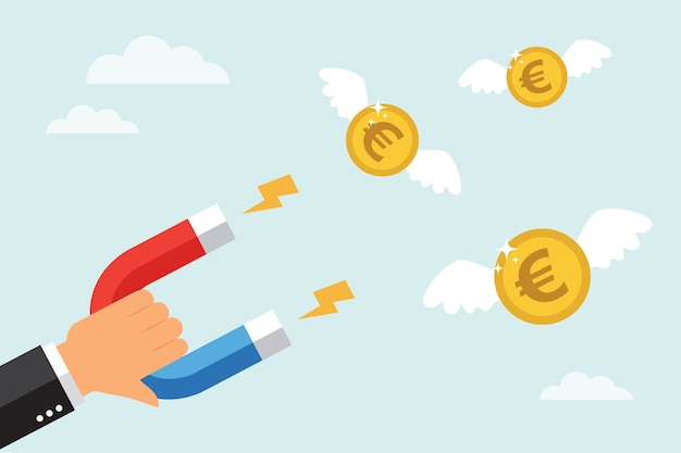 Businessman attract money euro coins with a large magnet. in flat design style