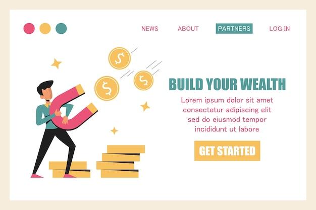 Бизнесмен привлекает деньги с помощью магнитного веб-баннера.