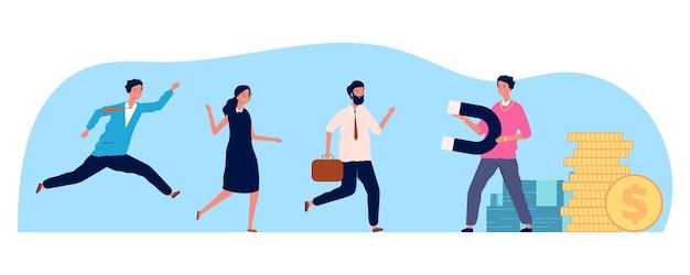 Бизнесмен привлечение людей. магнит человека, сотрудники бегут на работу. концепция hr, жадность или потребность в деньгах векторные иллюстрации. сотрудник магнита бизнесмена, привлекать и тянуть