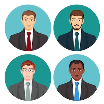 Businessman avatar four pictures  set on white. male people with light and dark skin, with moustache and glasses, in business costumes with red, green, blue or grey ties on round backgrounds