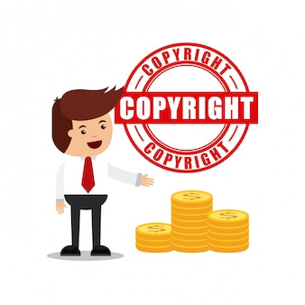 Businessman avatar with copyright concept