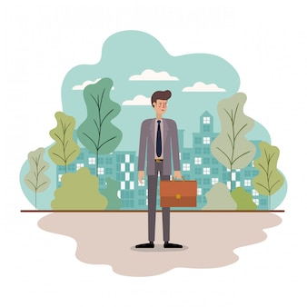 Businessman avatar with suitcase