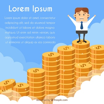 Businessman background on top of coins