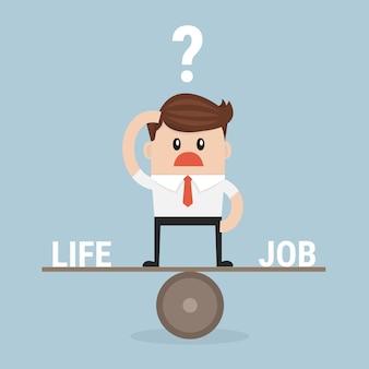 Businessman balance work and life vector