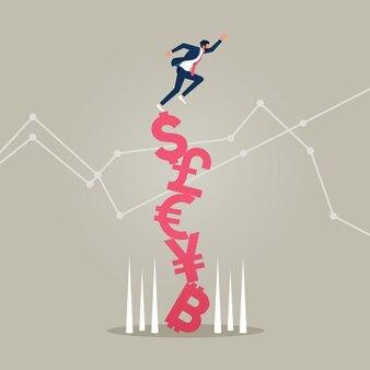 불안정하고 변동성이 큰 시장의 통화 기호 개념에 균형을 잡는 사업가