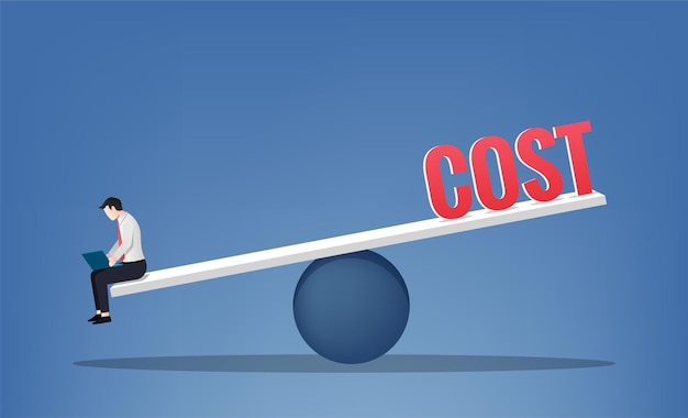 仕事とコストのシンボルのバランスをとるビジネスマン。ビジネスコンセプトイラスト