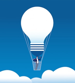 Businessman on balloon. man with spyglass in air balloon like bulb.