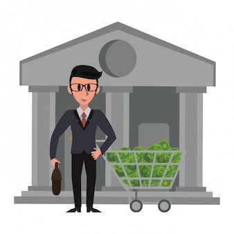 Businessman and bank