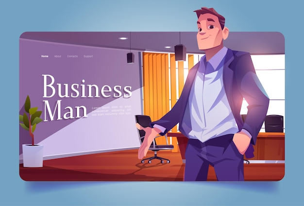 Businessman banner with leader in conference room