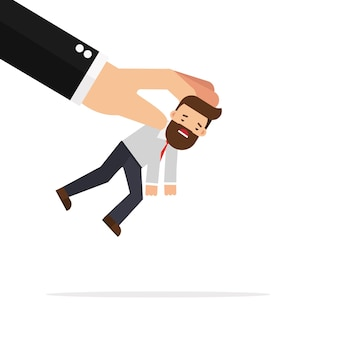 Businessman being picked up by big hand