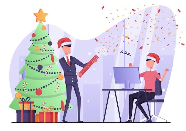 ビジネスマンは、オフィスチームで紙吹雪ポッパーを爆破し、新年とクリスマスを祝います
