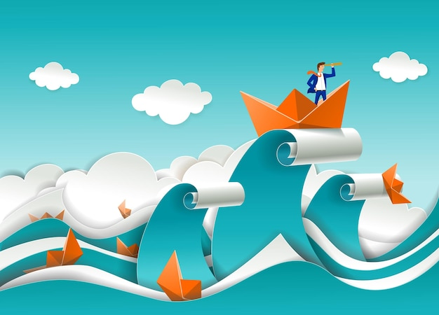 Businessman in boat on the top of ocean wave vector paper cut illustration business strategy directi...