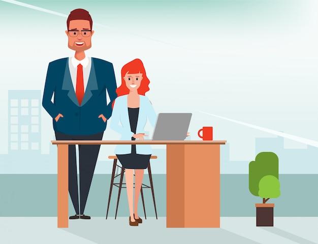 Businessman in boss assign job to businesswoman.