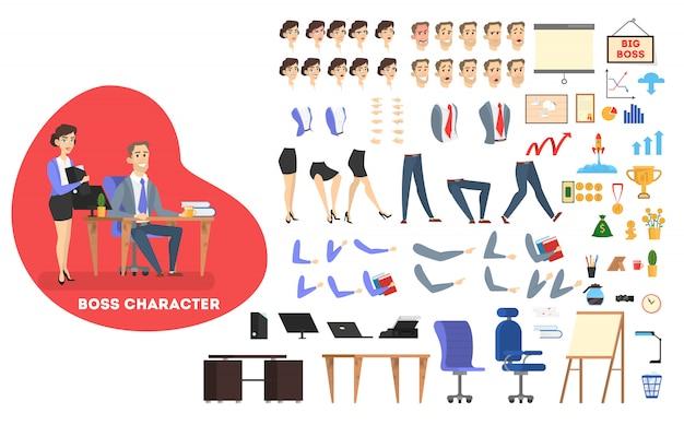 양복과 관리자의 사업가 보스 캐릭터가 다양한 뷰, 헤어 스타일, 감정, 포즈 및 제스처로 애니메이션을 설정합니다. 다른 사무 기기. 삽화