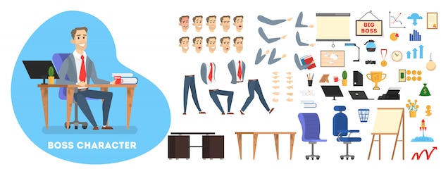 Businessman boss character in suit set for animation with various views, hairstyle, emotion, pose and gesture. different office equipment.    illustration