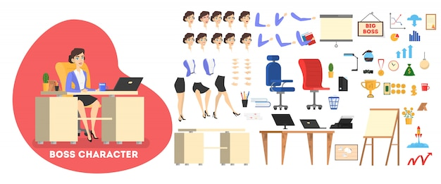 Businessman boss character in suit set for animation with various views, hairstyle, emotion, pose and gesture.