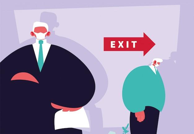 ビジネスマンの上司が従業員、失業を解雇