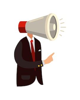 Businessman boss megaphone head angry in modern flat style
