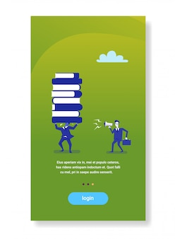 Businessman boss screaming megaphone on worker holding books stack business education concept
