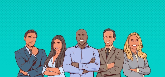 Businessman boss with group of business people successful mix race leading business people