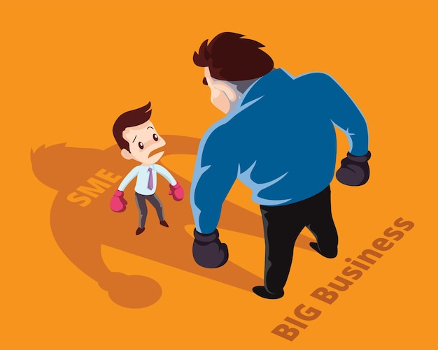 Businessman boxing against a giant businessman between sme and big business.