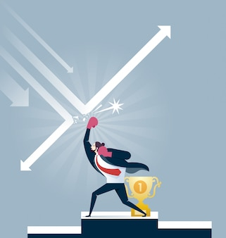 Businessman in boxing gloves punching arrow for protect trophy - business concept vector