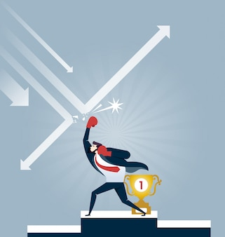 Businessman in boxing gloves punching arrow for protect trophy - business concept