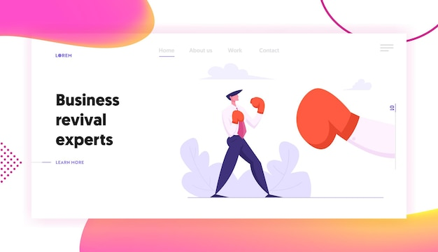 Businessman boxing with big glove concept landing page set