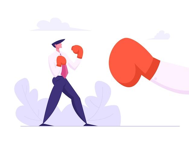 大きな手袋のイラストとビジネスマンボクシング