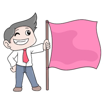 Businessman boy is doing the target of increasing success, vector illustration art. doodle icon image kawaii.