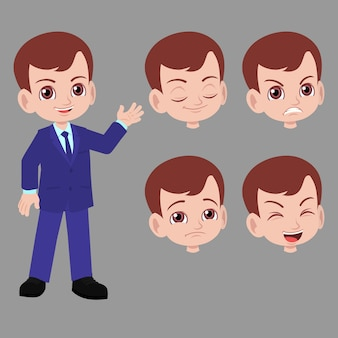 Businessman boy in suits with difference face expression
